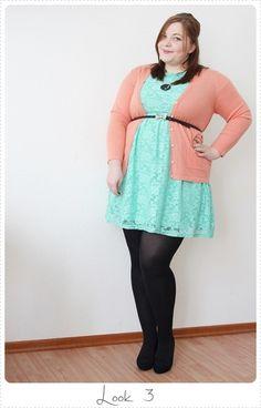 http://kathastrophal.de // Plus Size Fashion   Three Ways to Wear a Mint Lace Dress