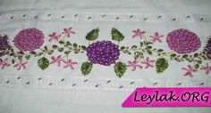 Kurdele nakışı çiçek desenli havlu modelleri