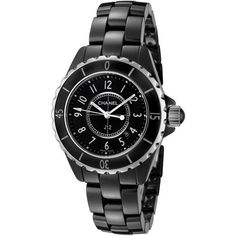 Chanel Women's J12 Black Ceramic and Dial ($2,700) ❤ liked on Polyvore featuring jewelry, watches, black, preowned watches, ceramic crowns, ceramic jewelry, pre owned jewelry and black ceramic watches