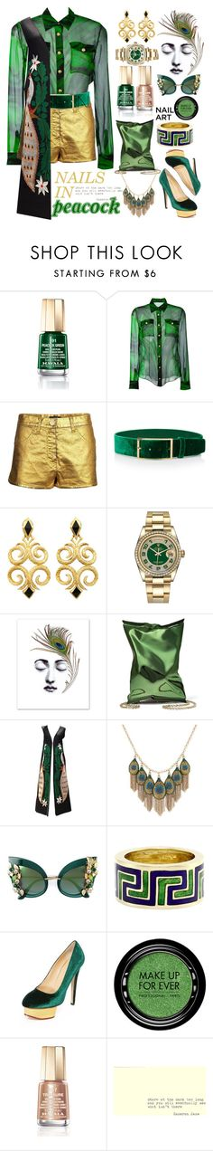 """peacock nails"" by katymill ❤ liked on Polyvore featuring beauty, Mavala, Balmain, Chanel, Elie Saab, Rolex, Anya Hindmarch, Lucky Brand, Dolce&Gabbana and Tiffany & Co."
