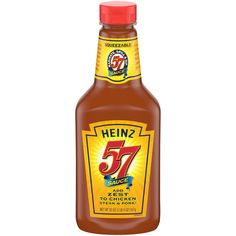 Pack of four, each bottle holds 20 ounce (total of 80 ounce) Heinz 57 Sauce creates a uniquely rich flavor It's also great for spreading, basting or marinat Zesty Sauce, Sweet And Spicy Sauce, Chicken Steak, Sauce For Chicken, Great Steak, Cocktail Sauce, Hot Sauce Bottles, Free Food, Favorite Recipes