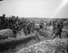 Battle of Cambrai. 4th Battalion Gordons (51st Division) crossing a trench. Ribecourt, 20 November, 1917