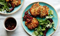 Anna Jones's courgette and halloumi fritters.