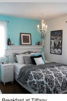 I love the wall, we did the Tiffany blue for our daughter.  I really love the headboard as a shelf.  I am thinking I could imagine (umm, nevermind).... those things might fall is what i'm thinkin -me