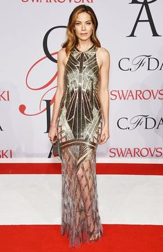 Michelle Monaghan in a beaded Monique Lhullier dress and heels