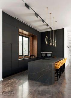 Modern Kitchen Interiors, Modern Kitchen Design, Interior Design Living Room, Art Deco Kitchen, Home Decor Kitchen, Open Plan Kitchen Living Room, Industrial Style Kitchen, Home Room Design, Decoration Design