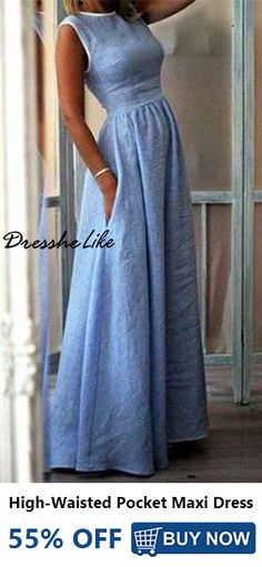 up to off, Hot sale Elegant High-Waisted Pocket Holiday Maxi Dress - Outfit ideen - Summer Dress Outfits Mode Style, Latest Fashion For Women, Womens Fashion, Fashion 2018, Ladies Fashion, Look Fashion, Fashion Ideas, Sweet Fashion, Fashion Hacks