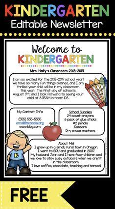 FREE Kindergarten newsletter - back to school - meet the teacher letter - first year teacher