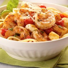 Italian Shrimp Caprese Pasta -  colorful pasta dish is full of flavor and can be made in less than 30 minutes.