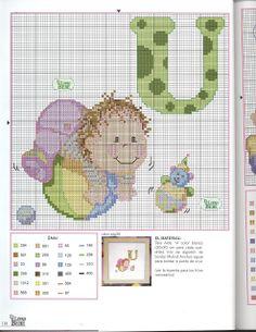 Arte by Cachopa - Ponto Cruz I: Monograma com bebê
