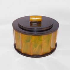 Antique Amber Bakelite Big Round Jewelry Box RARE Old Royal eBay