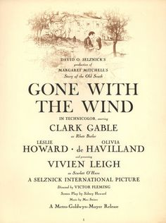 """A page from the premiere program of """"Gone With The Wind""""."""