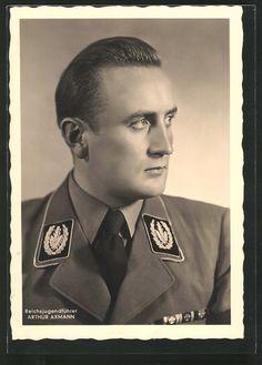 old postcard: AK Reichsjugendführer der HJ Arthur Axmann in Uniform