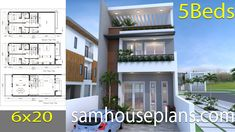 House Plans with 5 Bedrooms - Sam House Plans Modern Bungalow House Design, Small Modern House Plans, Duplex House Design, Duplex House Plans, Bedroom House Plans, New House Plans, Small House Design, House Floor Plans, 30x40 House Plans