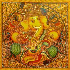 Ganesha Lord Ganesha Paintings, Ganesha Art, Jai Ganesh, Kerala Mural Painting, Madhubani Painting, Indian Traditional Paintings, Indian Paintings, Lotus Painting, Indian Arts And Crafts