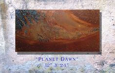 """Copper Art Abstract Patina Painting """"Planet Dawn"""" 12 x 24"""" Metal Wall Art"""