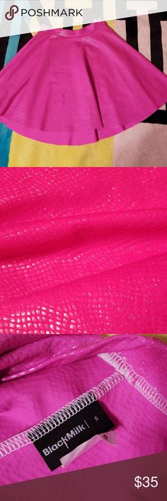 Fairy Dust Pink Skater Skirt Shiny, and glittery, and so pink! Never worn Blackmilk Skirts Mini