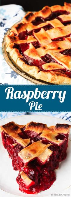 Raspberry Pie - Easy to make raspberry pie can be made with either fresh or frozen raspberries. This is the perfect dessert - tart, sweet, perfect raspberry pie!