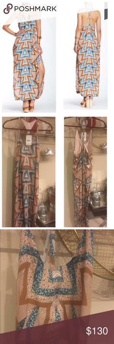 """Brand new with tags Free people maxi dress Make a statement in a sweeping maxi dress featuring a strappy camisole bodice with a slinky T-back and an allover geometric print. - Scoop neck - Racerback - Sleeveless - Partially lined - Approx. 57"""" length Fiber Content 60% viscose, 40% rayon Additional Info Fit: this style fits true to size. Free People Dresses Maxi"""