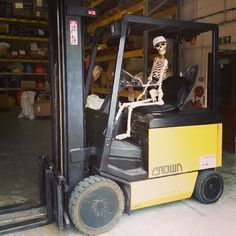 I don't care if you're dead. You wear a forklift seat belt like everyone else.