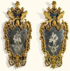A pair of Italian carved giltwood and engraved glass mirrors, Genoese, circa 1735   lot   Sotheby's