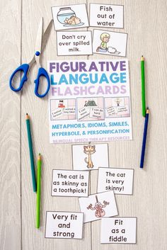Students with communication disorders struggle to understand figurative language. In fact, some researchers estimate that figurative language is used by adults 4 times per minute! Whatever the case, understanding figurative language is critical for students to understand what people say in conversation and what they read at school. This pack provides 15 pairs of flashcards each for: Metaphors Similes Idioms Hyperbole Personification