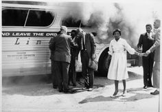 Freedom Riders gather with authorities alongside their burning bus after a mob attack outside Anniston, Alabama. Photo courtesy of Firelight Media Freedom Riders, Black History Quotes, 365days, Black Presidents, History Projects, Civil Rights Movement, Equal Rights, African American History, Women In History