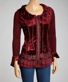 Burgundy Ruffle Silk-Blend Top
