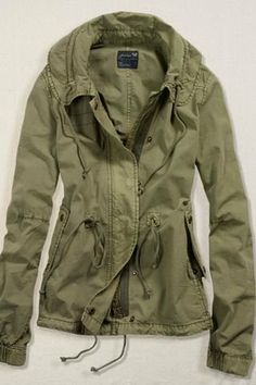 With different tops, jeans, and boots I can do so much with this jacket.  American Eagle Green Anorak Jacket