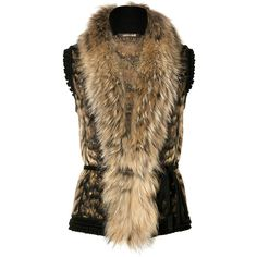 Luxurious knit vest made ​​of fine, patterned wool mix. Features an extra-large fur collar, waist belt, and decorative trim at sleeves and hem. Must-have for fa...
