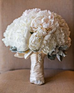 Peonies and Dusty Miller // White wedding bouquet by Hidden Garden Flowers
