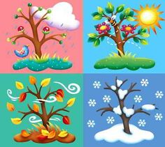 en ingles Four Seasons Tree Counted Cross Stitch Pattern Seasons Of The Year, Four Seasons, Weather For Kids, Cold Weather, Month Weather, Diy And Crafts, Crafts For Kids, Seasons Activities, Children Activities