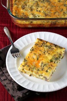Broccoli, Cheddar, and Sausage Breakfast Casserole - no carb