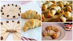 Delicious Nutella Croissants in 5 Easy Steps! Ingredients (serves 2 Sheets of Puff Pastry, thawed 1 cup of Nutella 1 Egg, beaten with 1 tbsp of water, this is what makes an egg wash Confectioner Sugar Croissant Nutella, Croissant Recipe, Chocolate Croissants, Mini Croissants, How To Make Nutella, 3 Ingredient Desserts, Sweet Tooth, Easy Meals, Easy Recipes