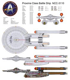 Proxima Class Battleship. The Proxima-class was a type of Federation starship in Starfleet service in the mid-23rd century. It is considered a battleship and it is heavily armed. At some point in time, it underwent a refit, adding updated nacelles, a weapons pod, as well as 2 additional forward torpedo launchers to the front of the saucer.