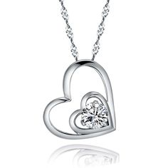 Double Love Heart Sterling Silver Pendant Necklace Jewelry