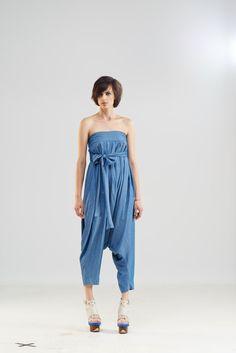 Denim loose jumpsuit/ Harem blue pants/Loose by MariaQueenMaria
