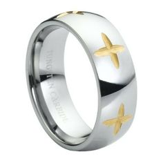 8mm High Polish Yellow Gold Plated Carved Star Design Domed Tungsten Carbide Comfort Fit Wedding Band Ring (Sizes 5 to 15) Forever Flawless Jewelry. $17.95. Comfort Fit. 30 Day Money Back Guarantee. Hypoallergenic. Free Gift Box with Every Purchase. Virtually Indestructible and Scratch Proof