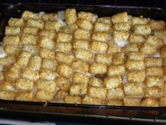 Tater Tot Casserole - 3 ingredients!  Easy, Cheap, Tasty!  #kitchencabinetrecipe