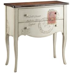 Two-drawer wood chest with a carte postale motif and cabriole legs.       Product: Accent chestConstruction Materia...