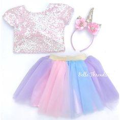 Unicorn Tutu Set - Pink Sequin Top & Rainbow Tutu Set