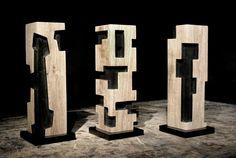 Alban LANORE - Petites colonnes / chêne 40x11.5cm.