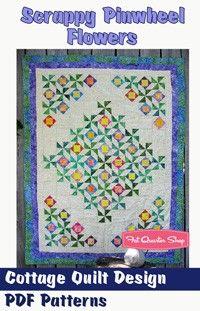Scrappy Pinwheel Flowers Downloadable PDF Quilt PatternCottage Quilt Design