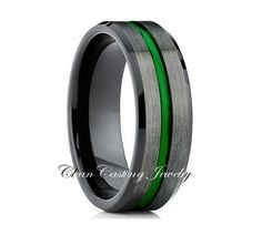 Green Tungsten,Black Brushed Ring,Comfort Fit Ring