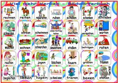 Viel mehr Verben - Bildwörterbuch Trauma, Learn German, Kindergarten, Teaching, Bunnies, Pictures, Printables, Events, German Language