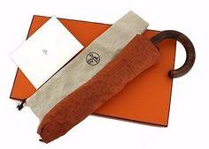 Authentic HERMES Umbrella Folding umbrella Orange Puryui de Ash (280115)