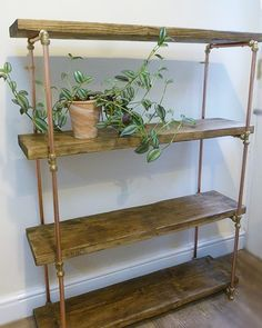 Industrial Copper Pipe Shelving Unit from Reclaimed Wood
