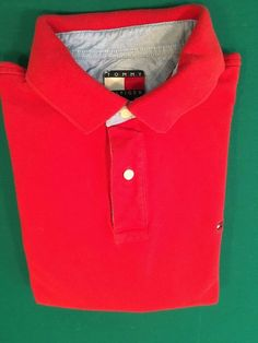 Men's Vintage TOMMY HILFIGER Golf Polo Shirt - Red, Textured - Size M #TommyHilfiger #PoloRugby