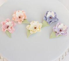 Fondant flowers with butterflies Set of 5 by SeasonablyAdorned