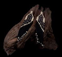 Native Amercian Style Beaded Earrings - Silver Arrow Design